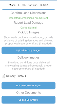 oversize heavy haul mobile app document upload
